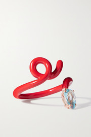 Bea Bongiasca Baby Vine Tendril enamel, rose gold and topaz ring