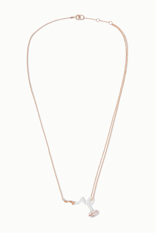 Bea Bongiasca Baby Vine rose gold, enamel and rock crystal necklace