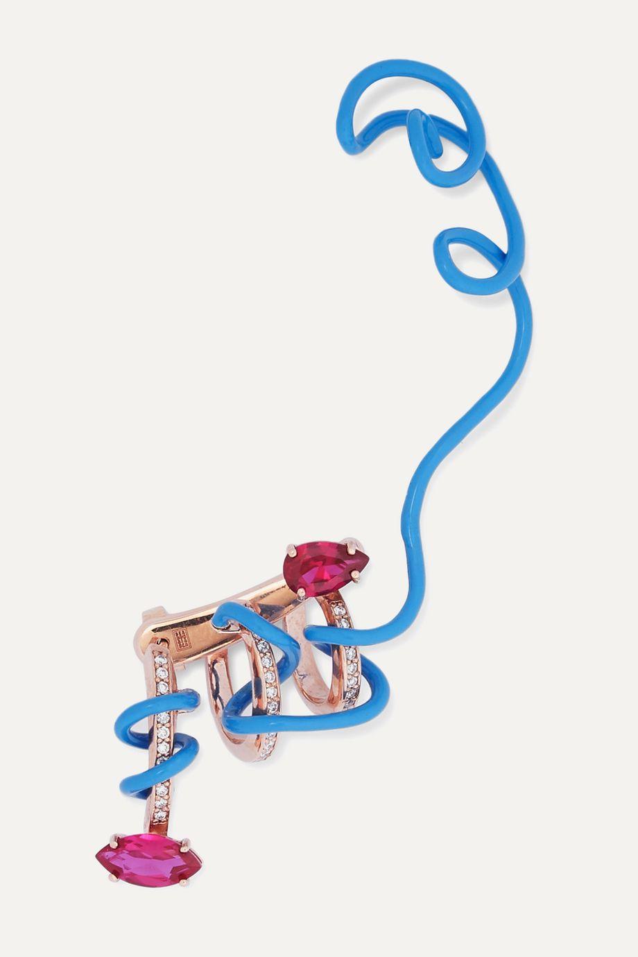 Bea Bongiasca Crawler Vine 9-karat rose gold corundum and diamond ear cuff