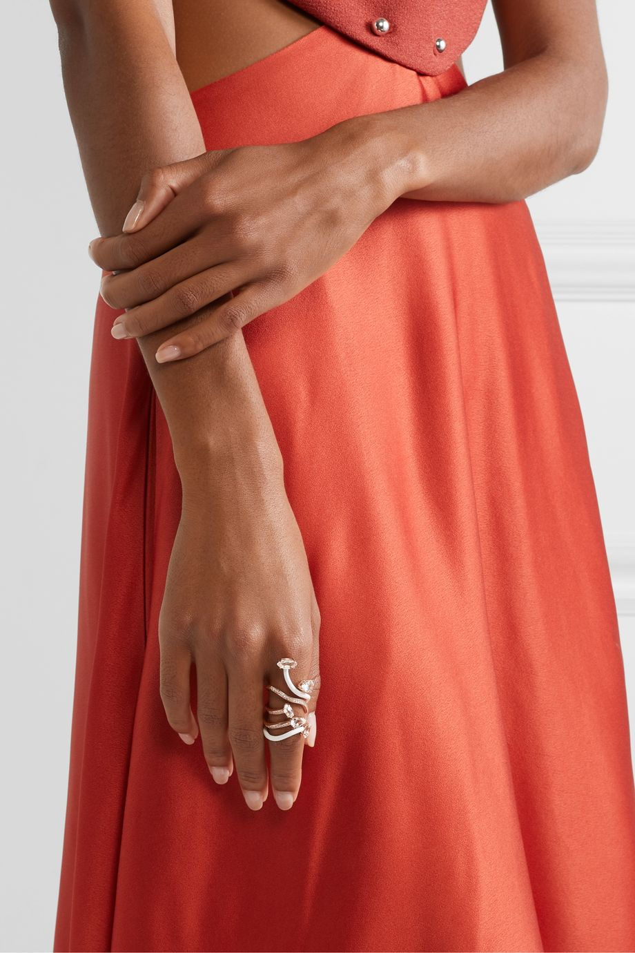 Bea Bongiasca You're So Vine 9-karat rose gold, enamel, rock crystal and diamond ring