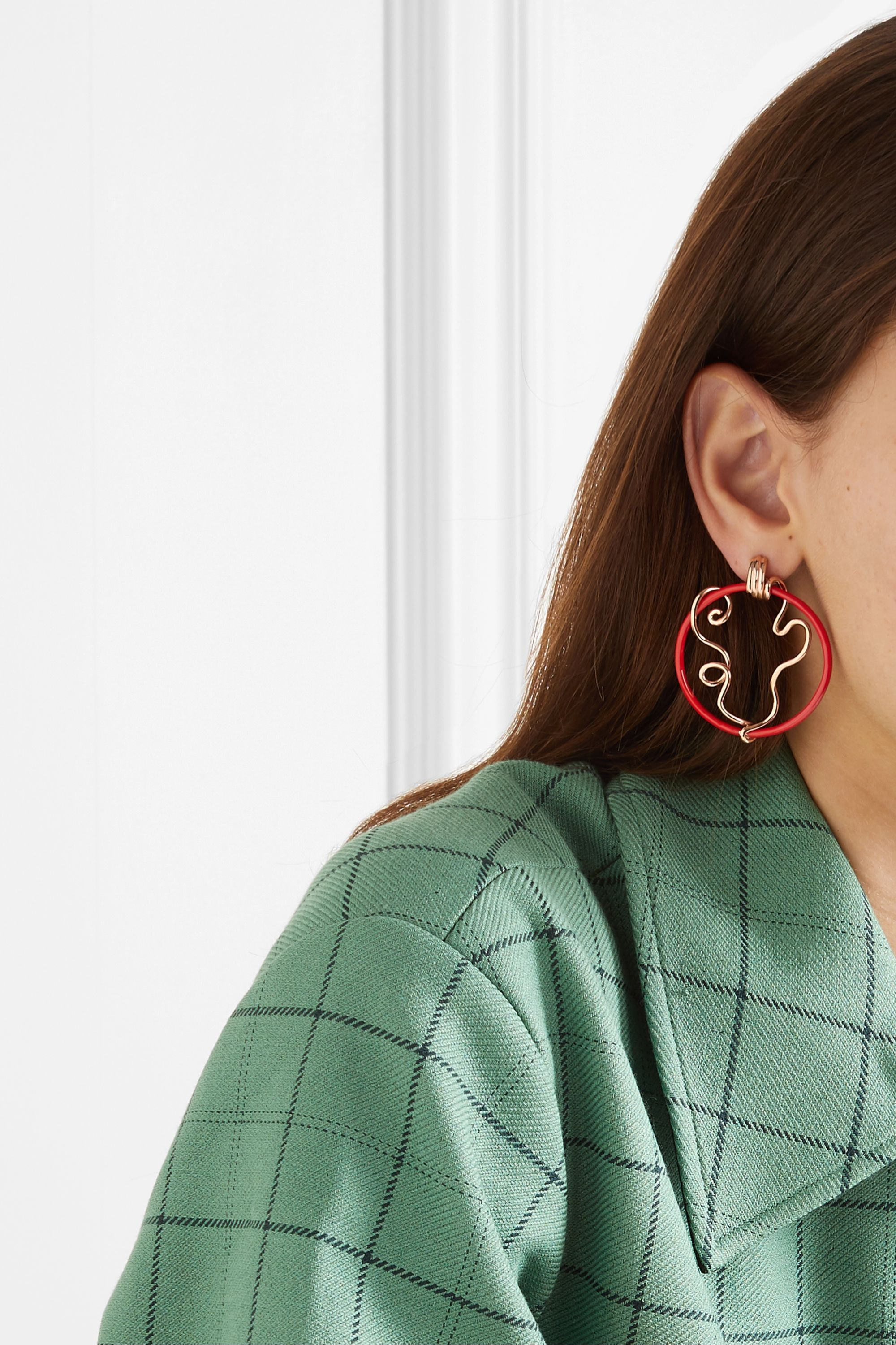 Bea Bongiasca Vine 9-karat rose gold and enamel earrings