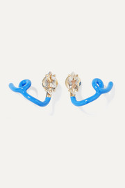 You're So Vine 9-karat gold, enamel and rock crystal earrings