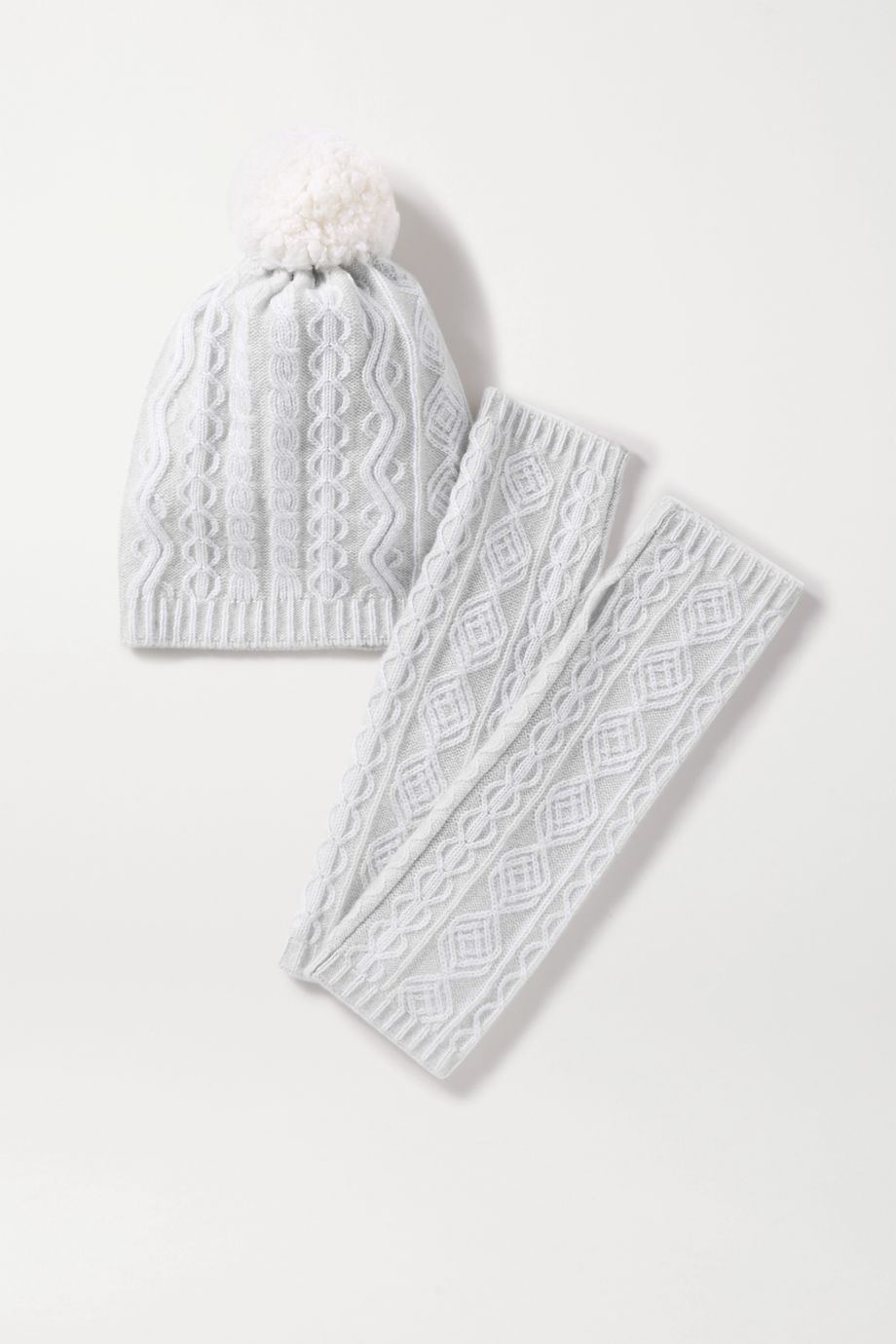 Johnstons of Elgin Cathedral cable-knit cashmere beanie and wrist warmers set