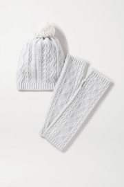 Cathedral cable-knit cashmere beanie and wrist warmers set