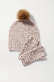 Faux fur-trimmed metallic cashmere-blend beanie and wrist warmers set