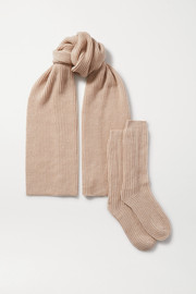 Ribbed cashmere scarf and socks set