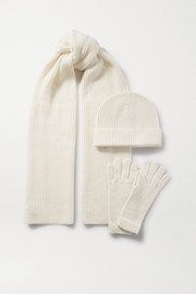 Cashmere hat, scarf and gloves set