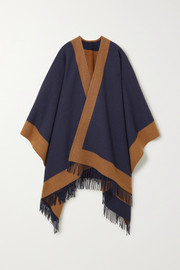 Fringed two-tone wool cape