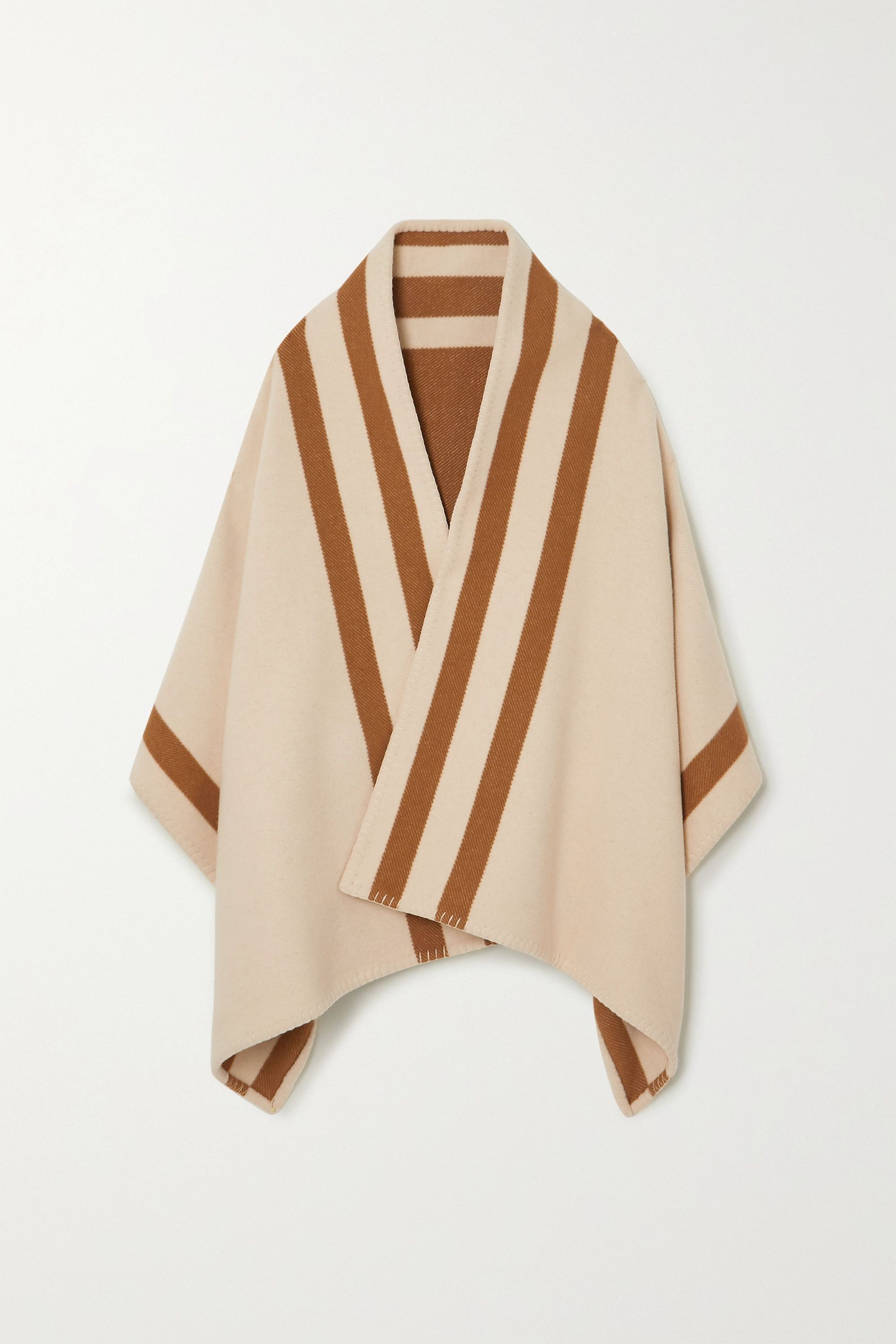 Johnstons of Elgin Striped merino wool and cashmere-blend wrap