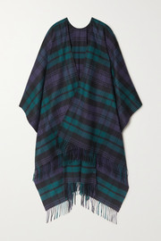 Fringed checked cashmere wrap