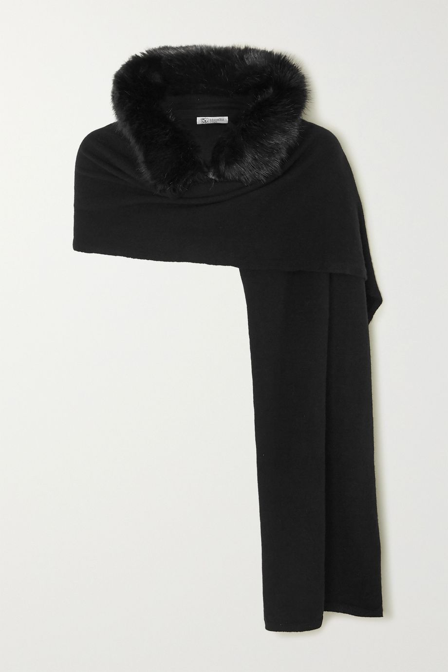Johnstons of Elgin Hooded faux fur-trimmed cashmere scarf