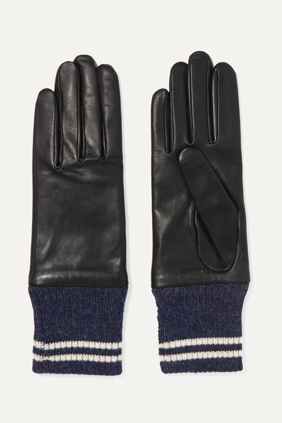 rag & bone Striped ribbed alpaca-trimmed leather gloves