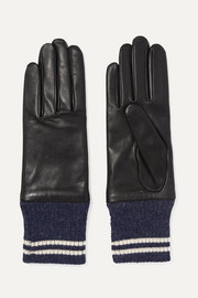 Striped ribbed alpaca-trimmed leather gloves