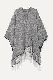 Fringed herringbone wool-blend wrap