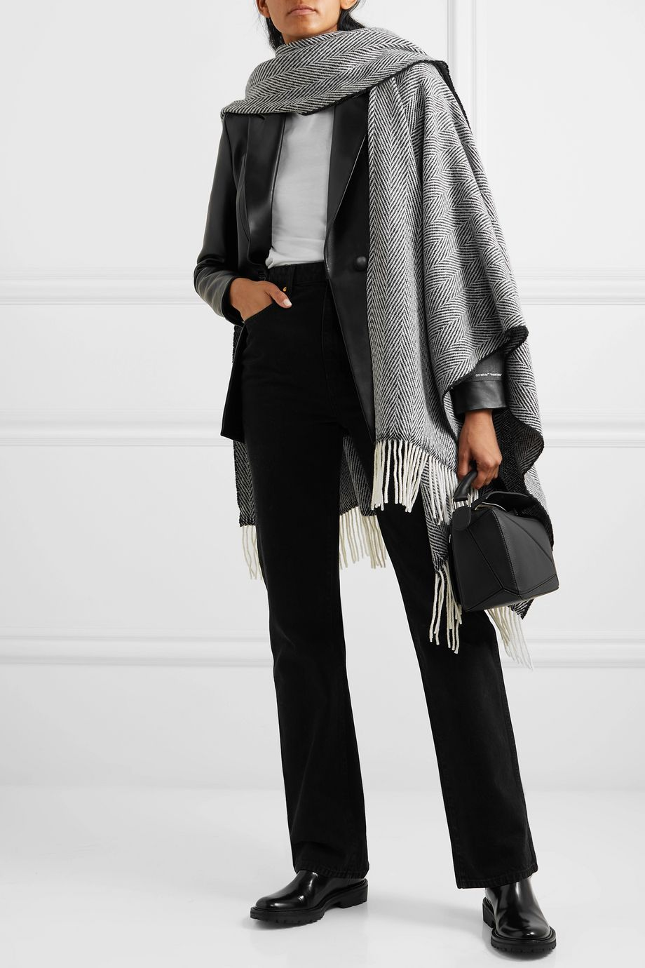 rag & bone Fringed herringbone wool-blend wrap