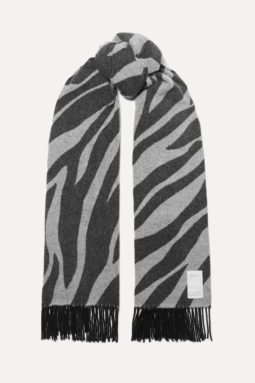rag & bone Écharpe en laine mélangée à imprimé zèbre et à franges