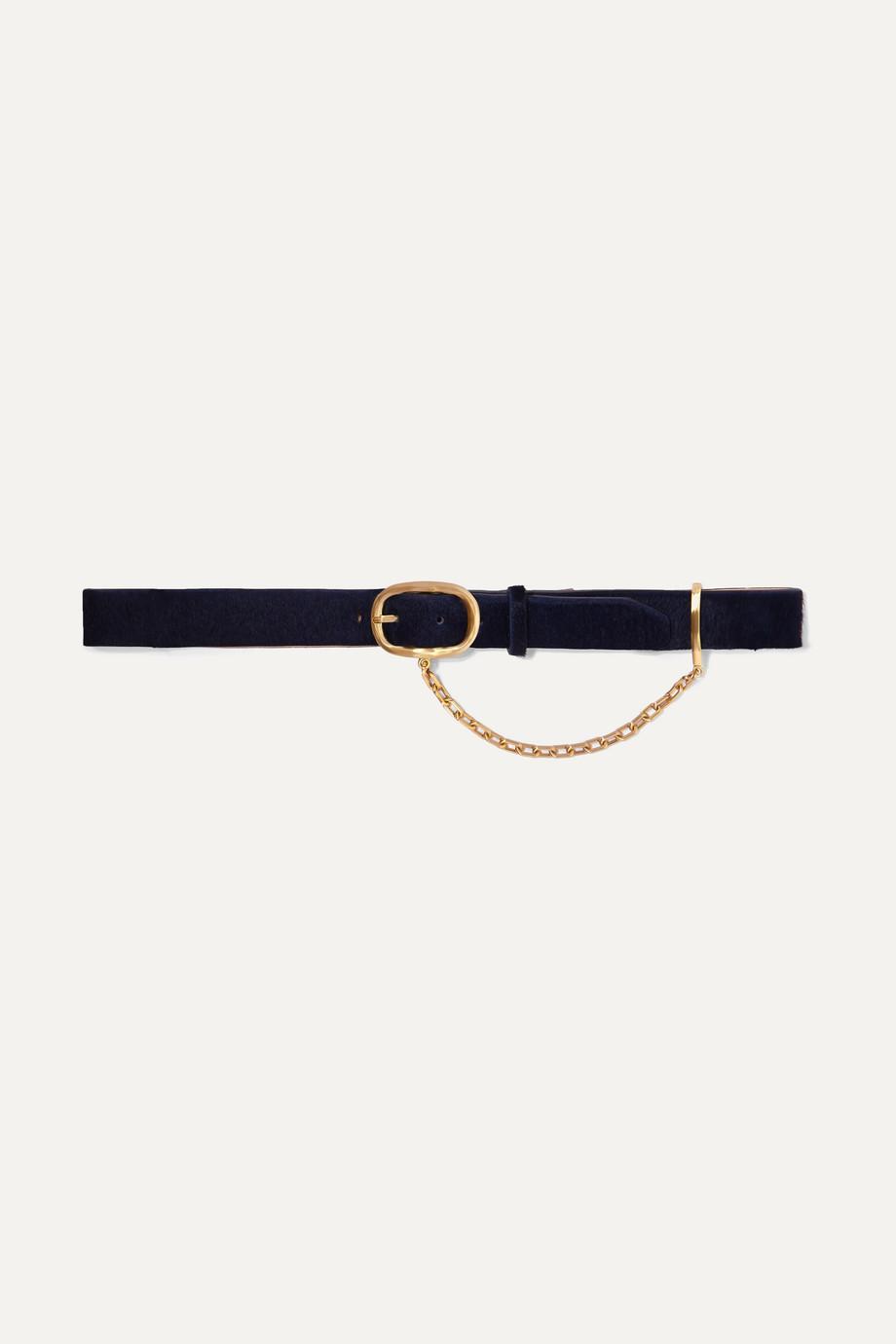 rag & bone Wingman chain-embellished calf hair belt