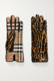 Leather-trimmed leopard-print calf hair and checked twill gloves