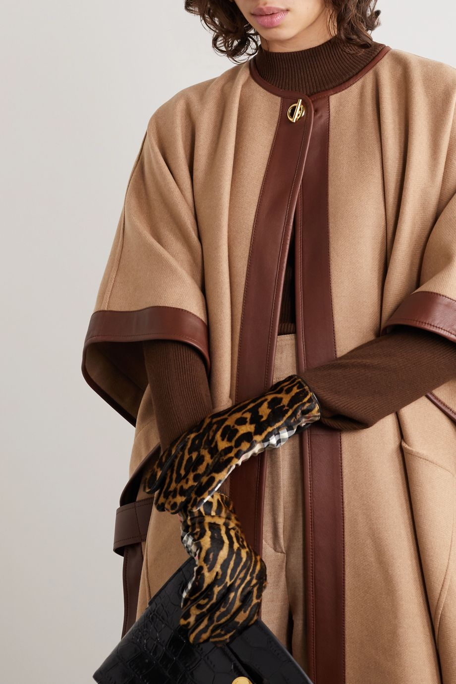 Burberry Leather-trimmed leopard-print calf hair and checked twill gloves