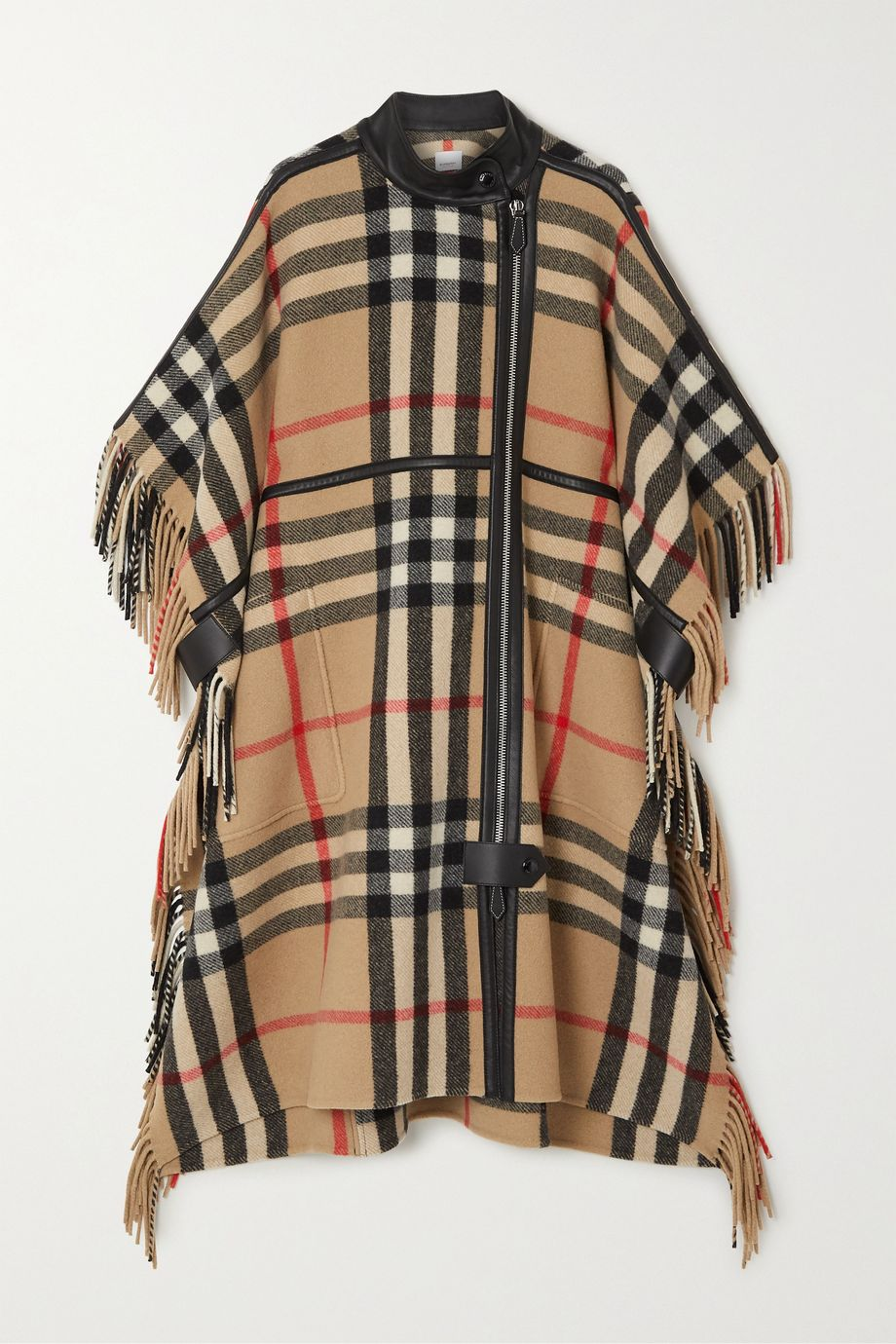 Burberry Leather-trimmed fringed checked wool-blend cape