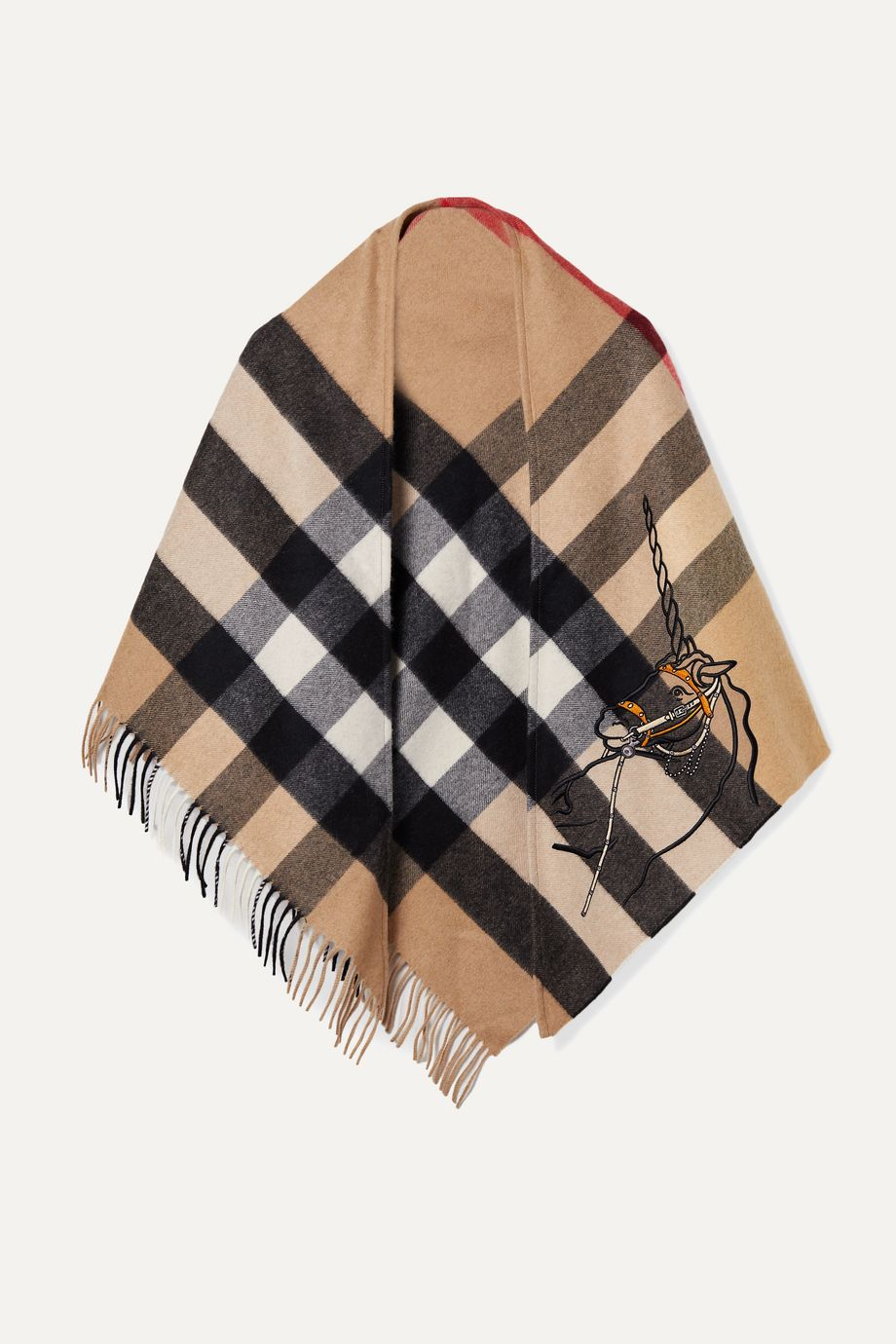Burberry Fringed embroidered checked cashmere wrap