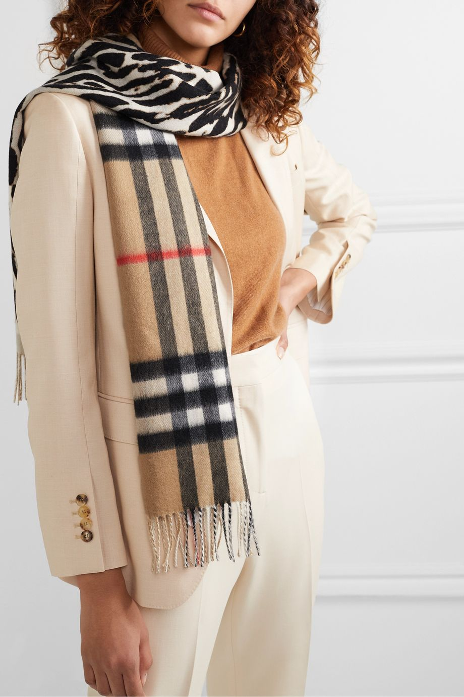 Burberry Fringed printed cashmere scarf