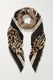 Fringed printed wool and silk-blend scarf