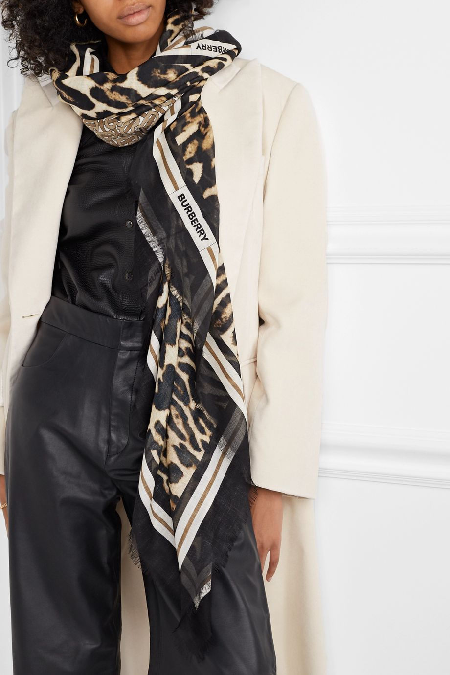 Burberry Fringed printed wool and silk-blend scarf