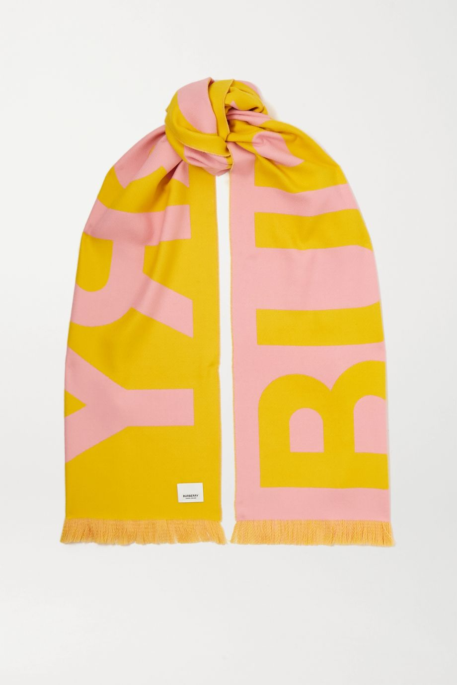 Burberry Fringed two-tone intarsia wool scarf