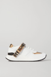 Burberry Logo-detailed checked canvas-trimmed leather sneakers