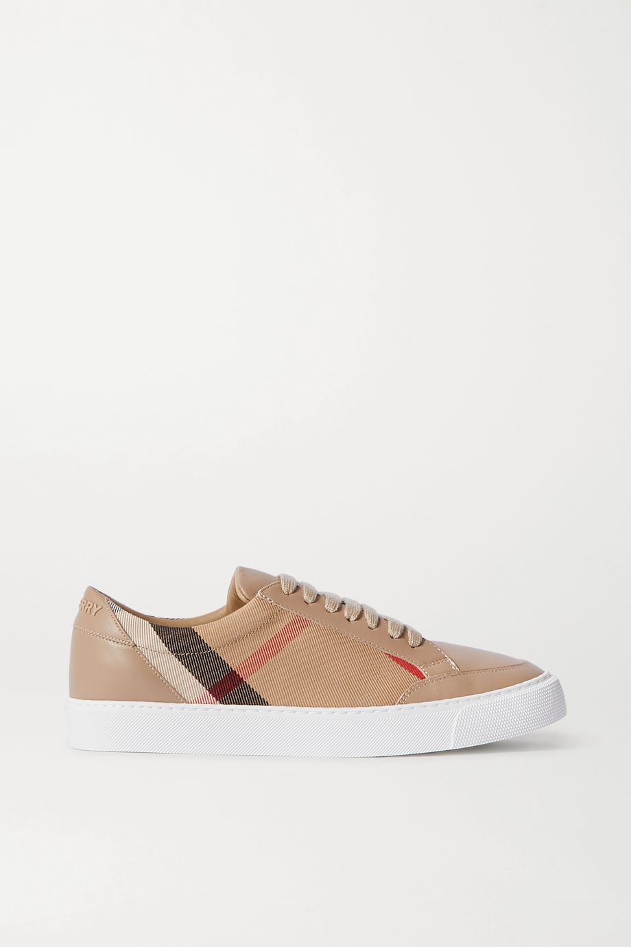 Burberry Leather and checked canvas sneakers