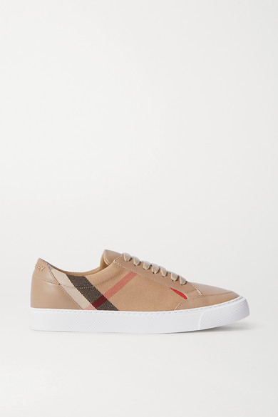 Leather And Checked Canvas Sneakers by Burberry