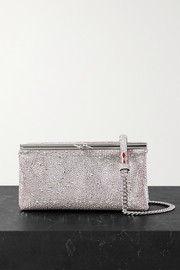 Christian Louboutin Daisy crystal-embellished metallic leather shoulder bag