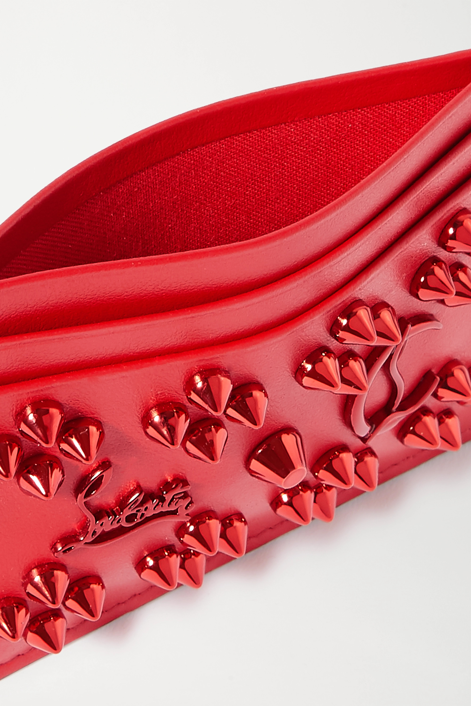Red Kios spiked textured-leather