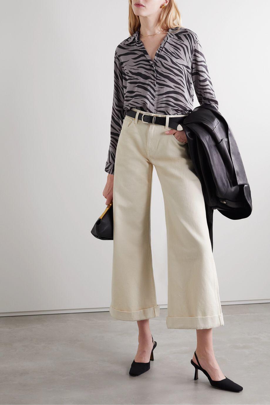 L'Agence Nina zebra-print silk-voile shirt
