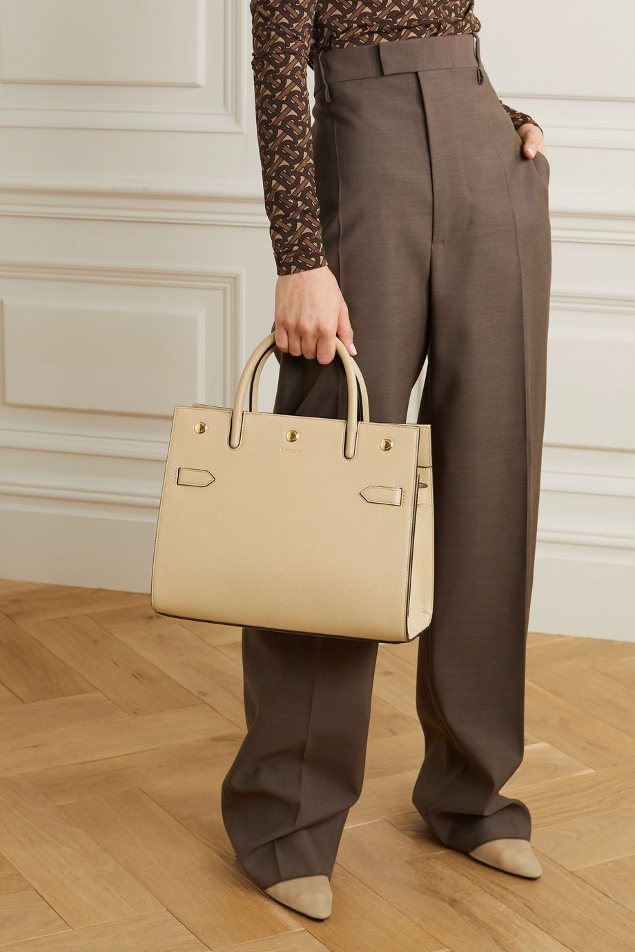Burberry Medium textured-leather tote