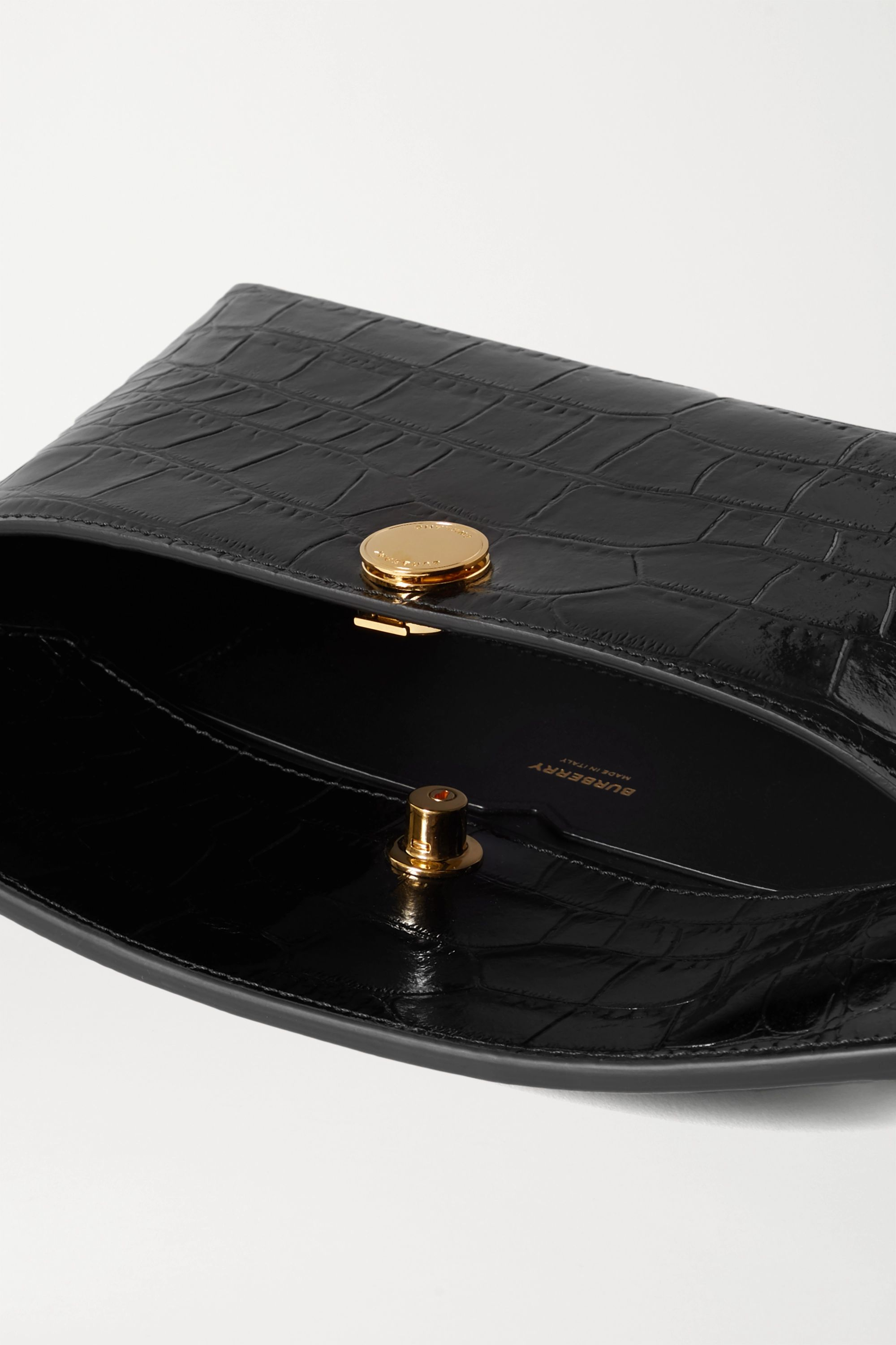 Burberry Glossed croc-effect leather clutch