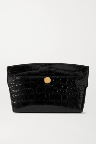 Glossed croc-effect leather clutch