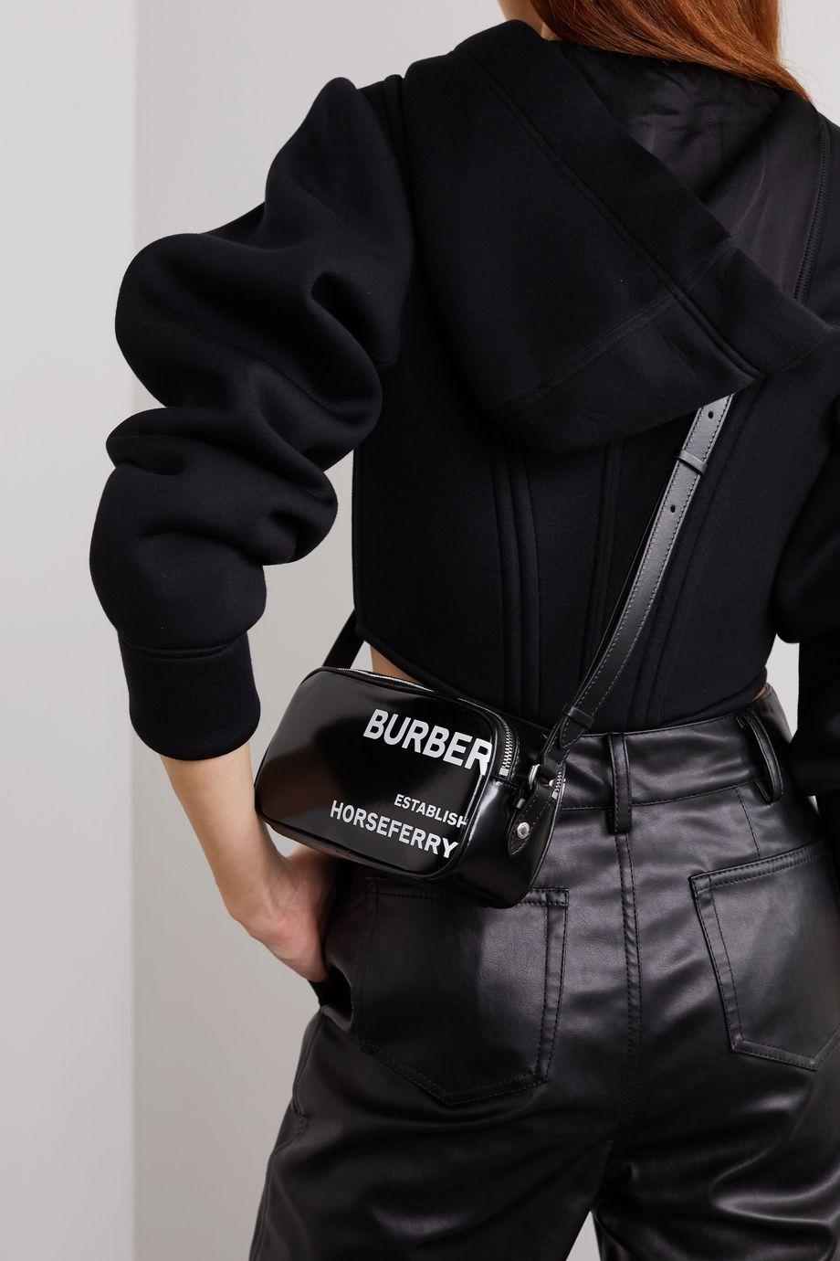 Burberry Leather-trimmed printed coated-canvas shoulder bag