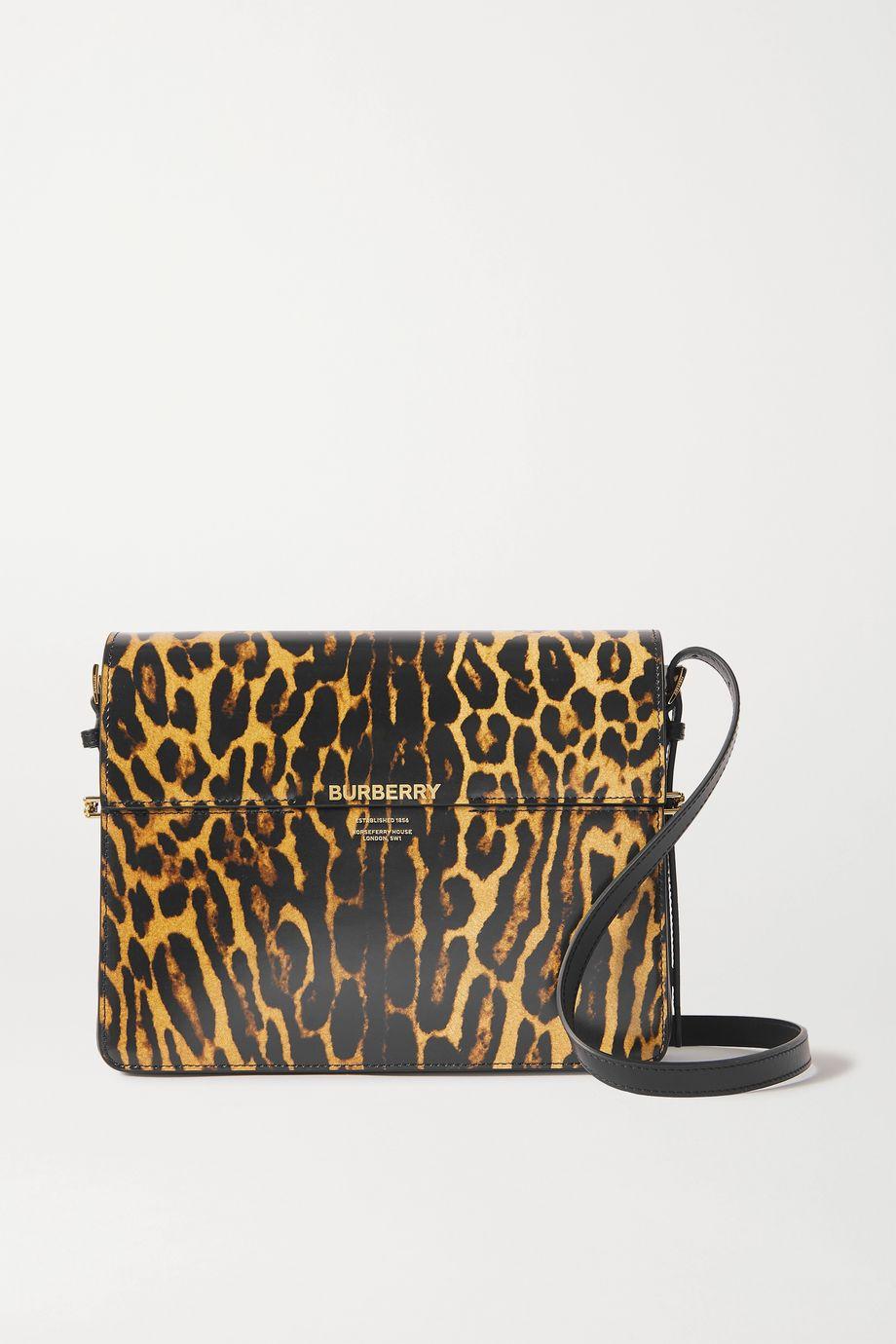 Burberry Große Schultertasche aus Leder mit Leopardenprint
