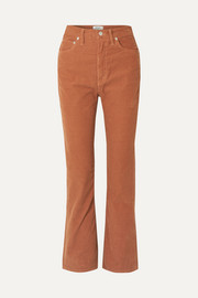 Vintage cotton-blend corduroy flared pants