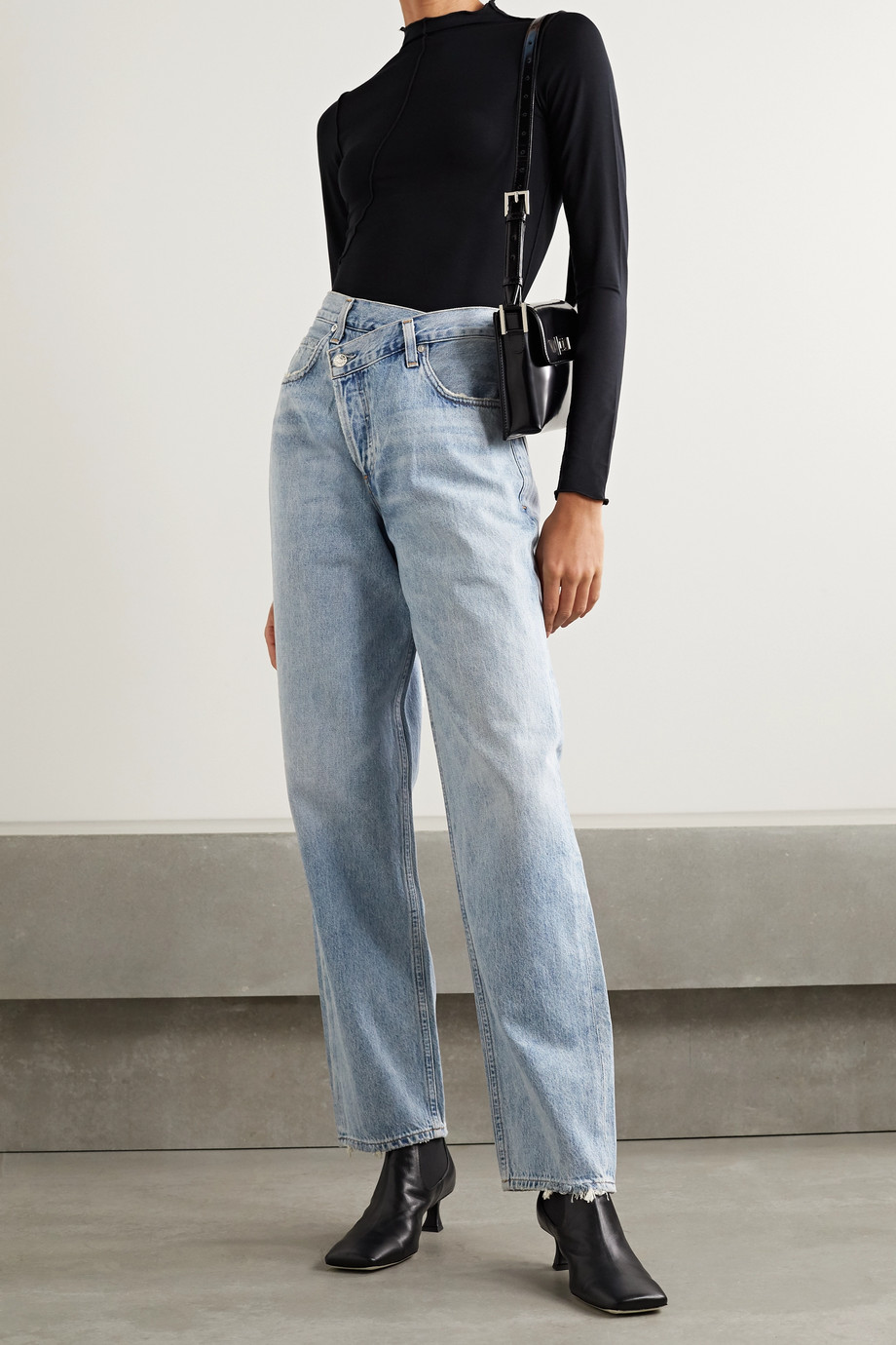 AGOLDE Criss Cross Upsized distressed high-rise wide-leg jeans