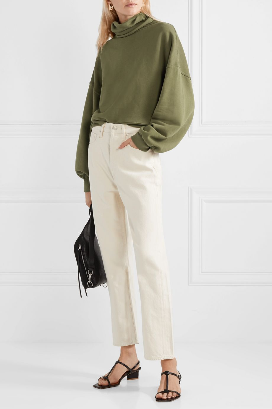 AGOLDE Cropped cotton-terry turtleneck top