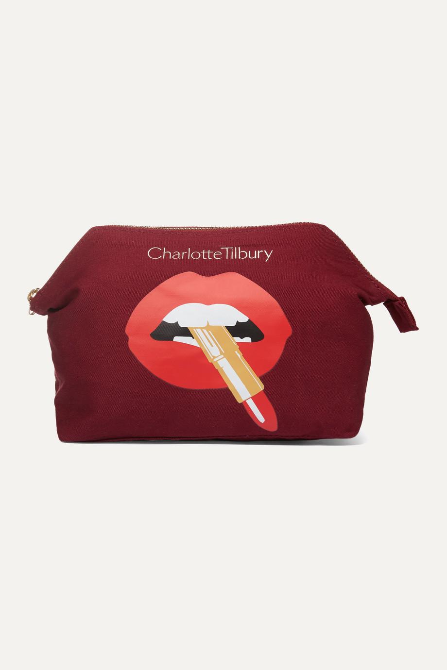 Charlotte Tilbury Hot Lips Kosmetiktasche aus bedrucktem Baumwoll-Canvas
