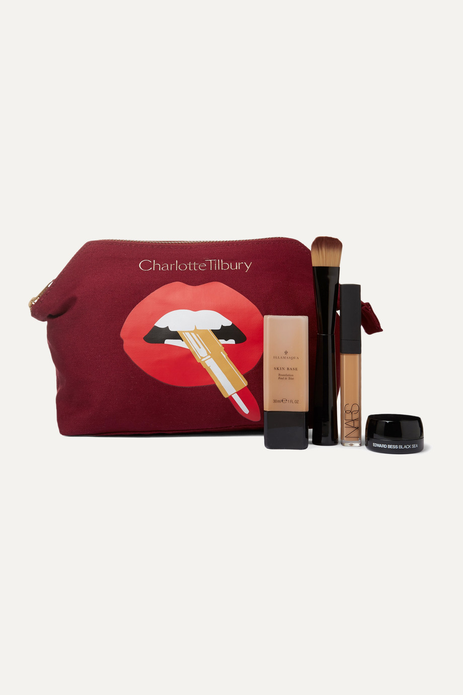Charlotte Tilbury Hot Lips printed cotton-canvas cosmetics case