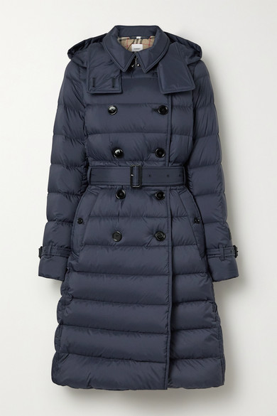 Belted double-breasted quilted shell down coat