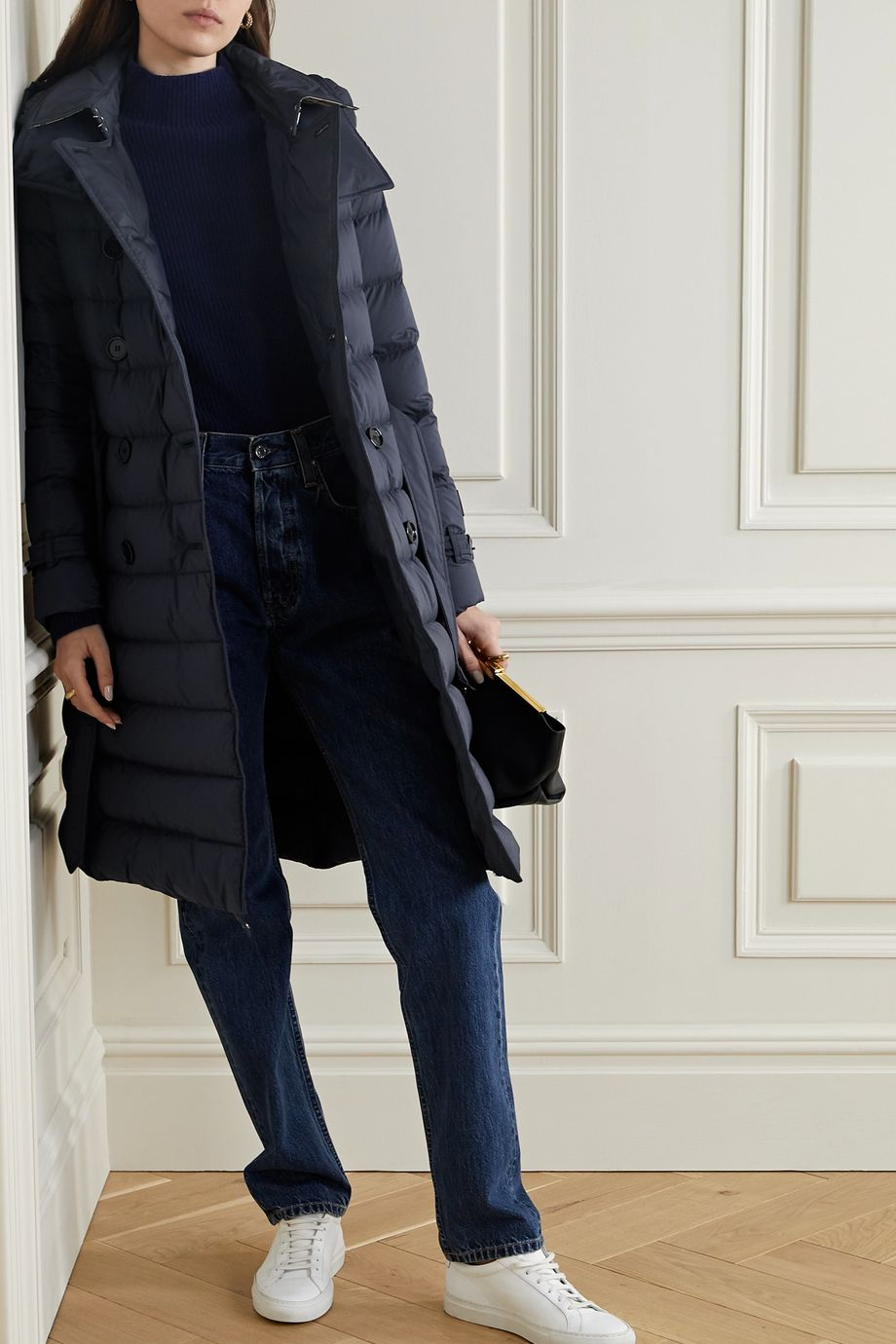 Burberry Belted double-breasted quilted shell down coat