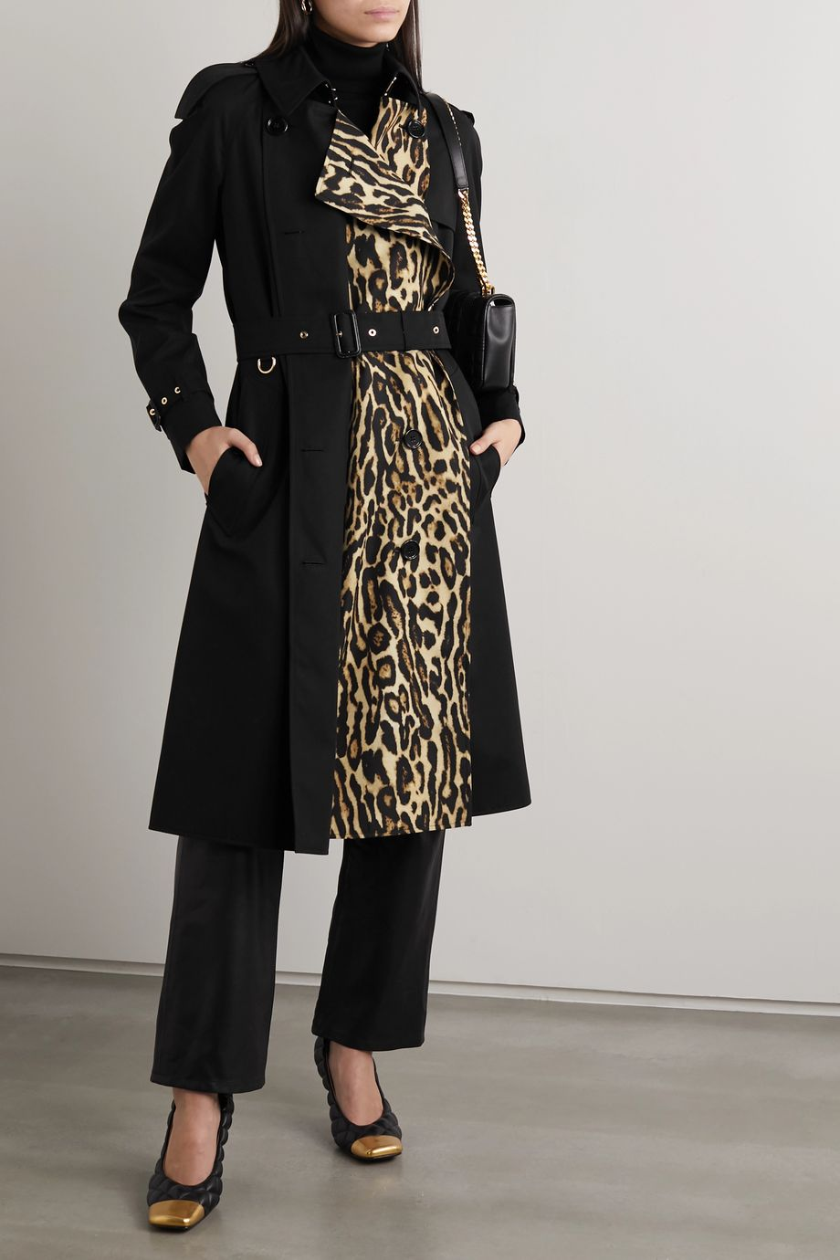 Burberry Leopard-print cotton-gabardine trench coat
