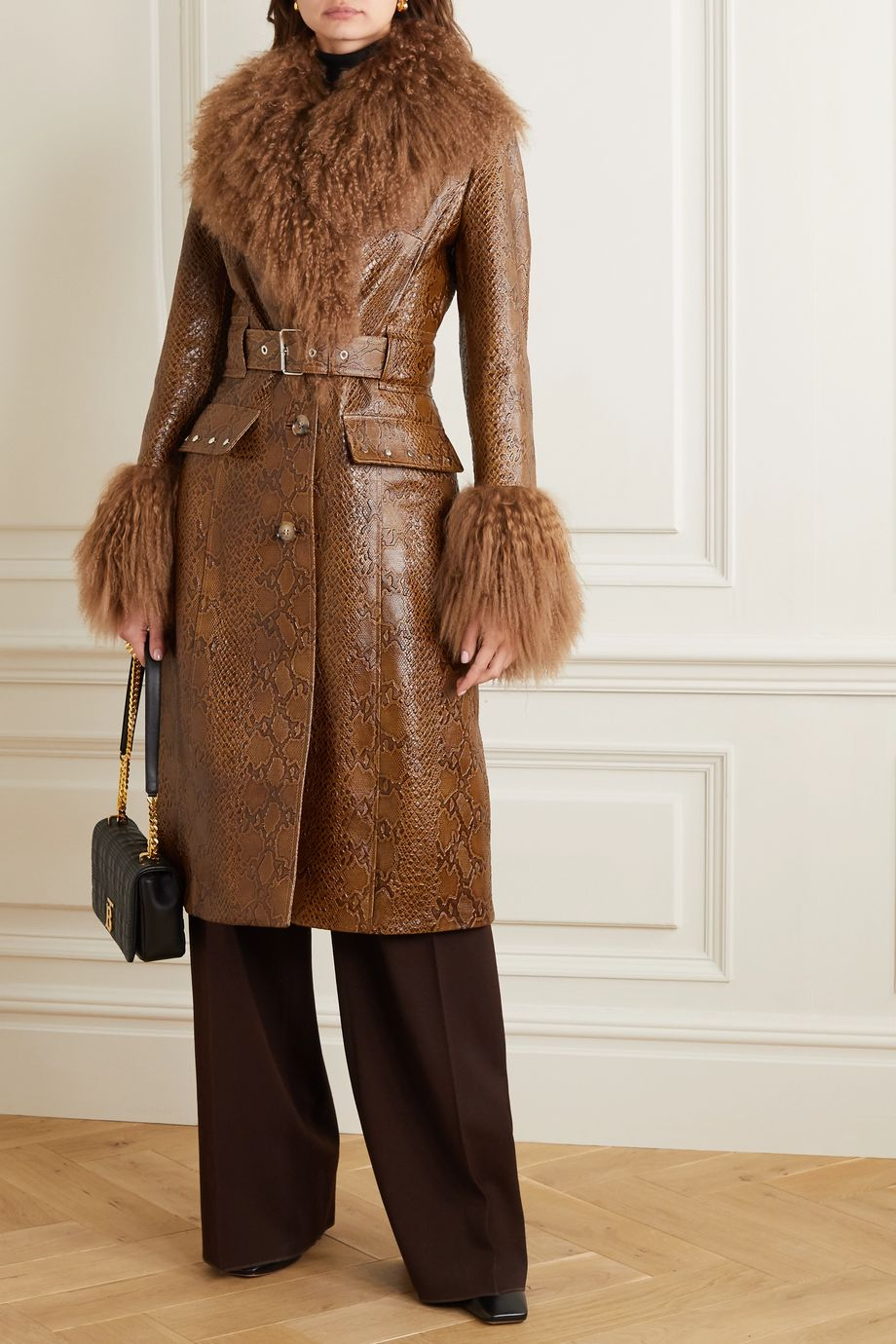 Burberry Wetherby belted shearling-trimmed snake-effect leather coat