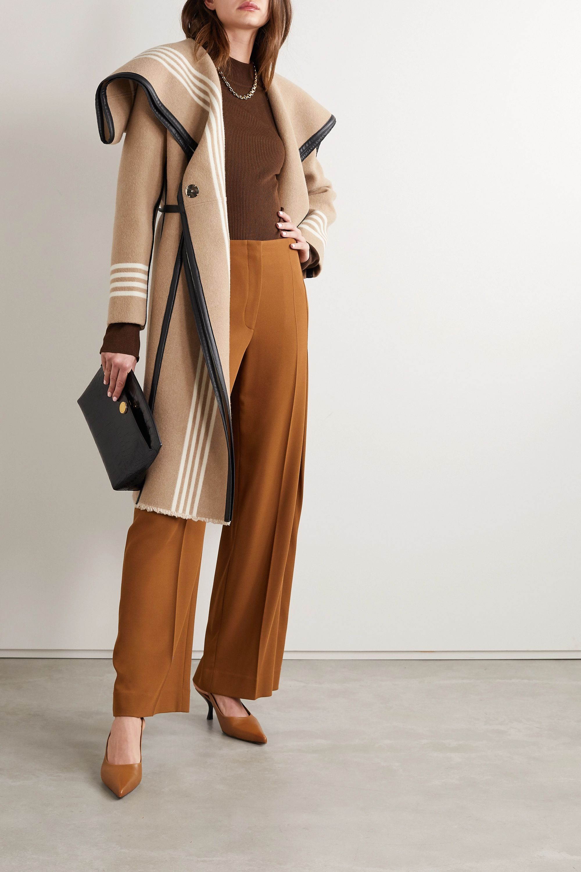 Burberry Layered cape-effect leather-trimmed striped wool coat